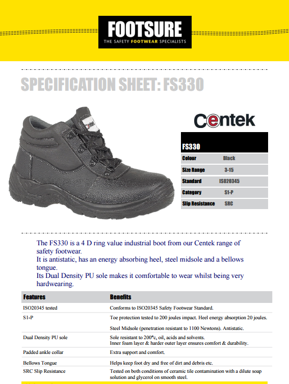 c888766dbe4 Centek FS330 Steel Toe Slip- Resistant Industrial Safety Boot - Black