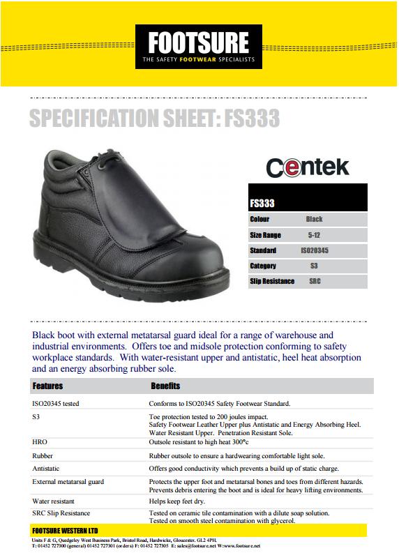 a53ee90d4ea Centek FS333 Metatarsal Protection Boot - Black
