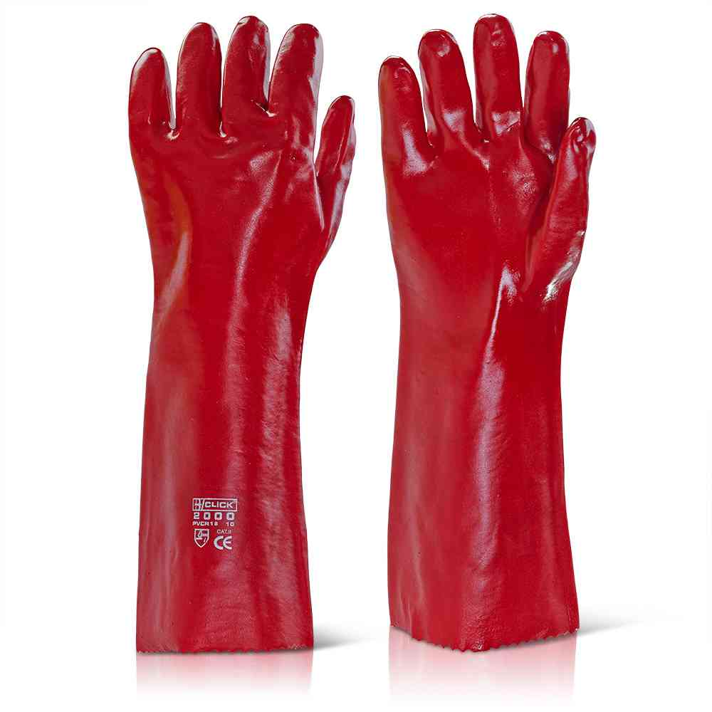 Click 2000 PVCR18 General Handling PVC Coating Glove Wet & Oily Grip 18'' - 46cm