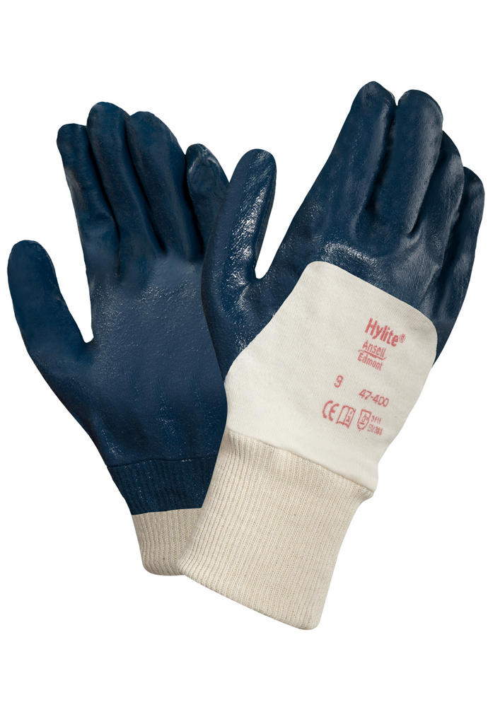 Ansell Hylite 47-400 Lightweight Nitrile Coated Blue Glove 3.1.1.1
