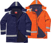 Portwest FR59 Flame Resistant Winter Jacket Navy/Orange