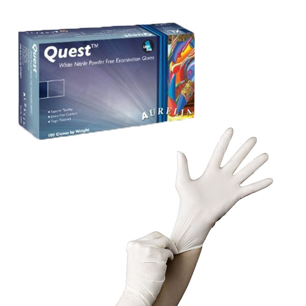 Aurelia Quest Plus 9293 Nitrile Powder Free Single Use White Disposable Gloves, Box of 200
