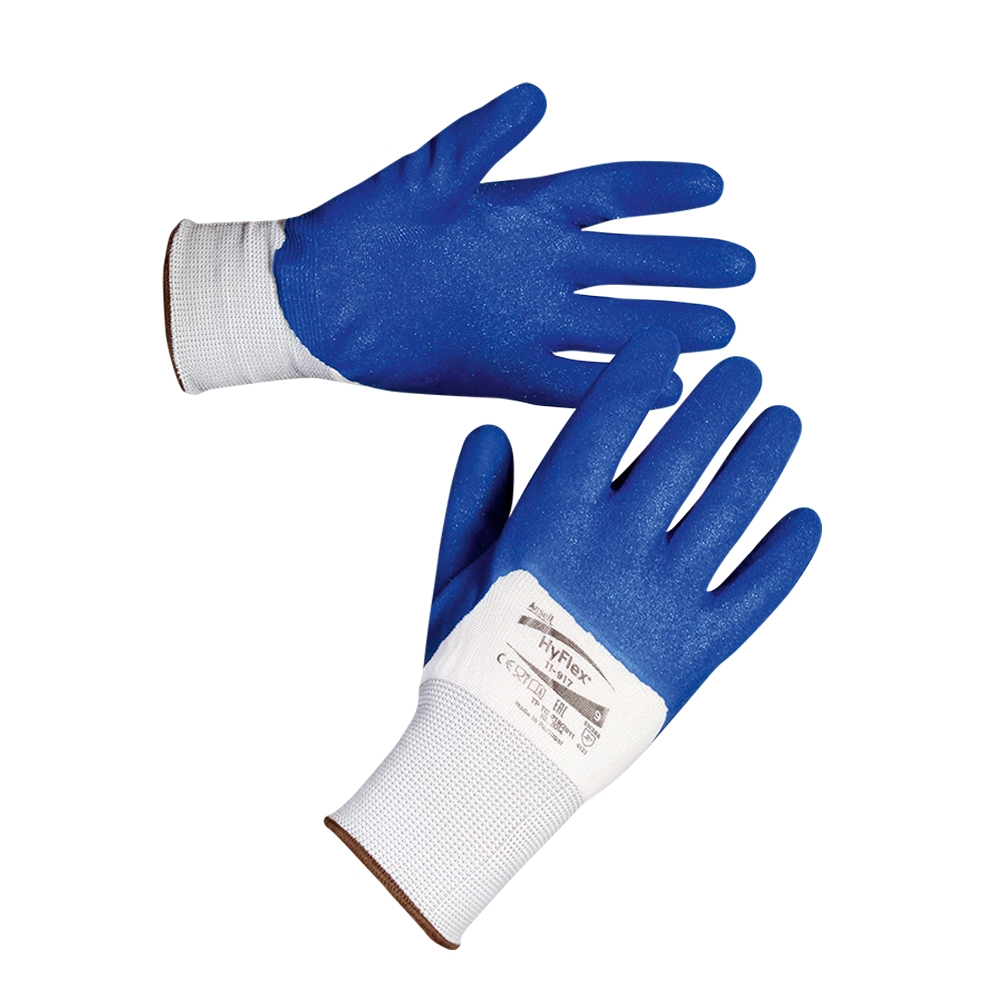 Ansell Hyflex 11-917 Palm & Finger Nitrile Coating Grip Work Gloves 4.1.2.1, Size - Large