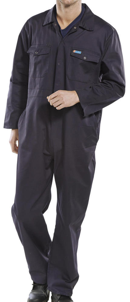 Beeswift PCBS Polycotton 7Oz  Stud Front Navy Coverall