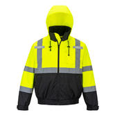 Portwest S364 2-in-1 Hi Vis Waterproof Hooded Rain Work Bomber Jacket