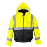 Portwest S363 Hi Vis Waterproof Concealed Hood Rain Work Bomber Jacket