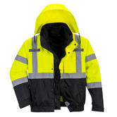 Portwest S365 3-in-1 Hi Vis Waterproof Hooded Rain Work Bomber Jacket