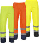 Portwest H444 Mens Work 2 Tones Hi-Vis Waterproof Reflective Rain Trousers