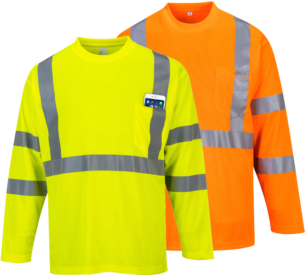 Portwest S191 Hi Vis Long Sleeve Chest Pocket Work T-Shirt with Reflective Bands