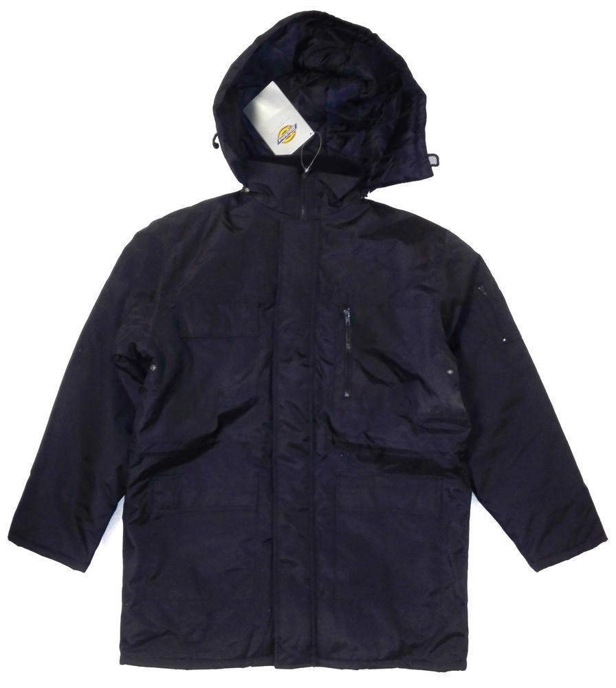 Dickies Polyester Security Uniform Quilted Water Resistant PVC Coated Hooded Jacket JW23400