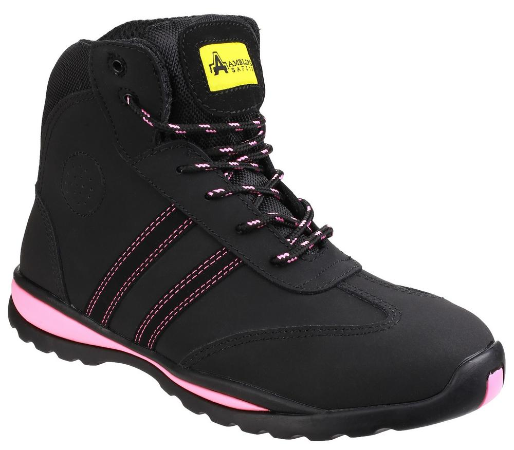 Amblers FS48 Ladies Leather Safety Boots Black With Pink Details