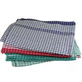 Cotton Check Tea Towels Mixed Colours Red Blue Green