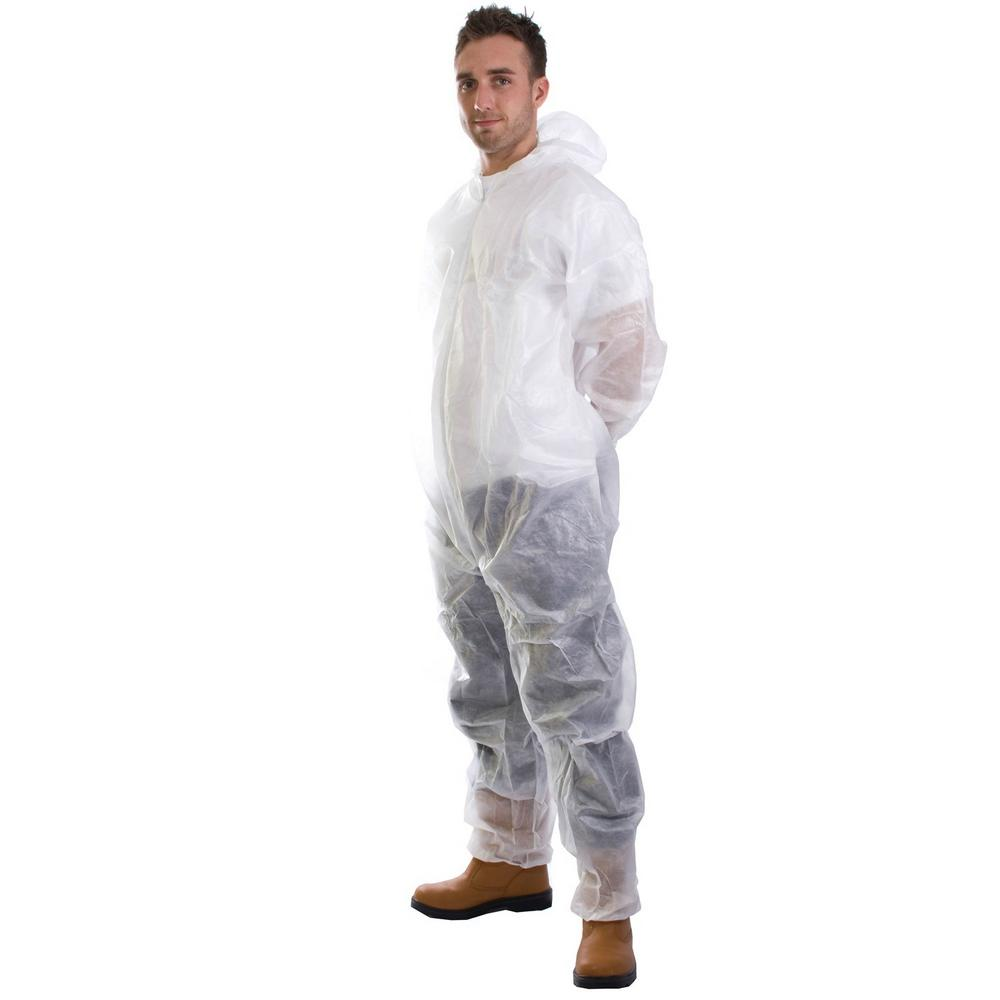 SuperTouch 17401 Disposable White Non Woven Coverall (Pack of 10)