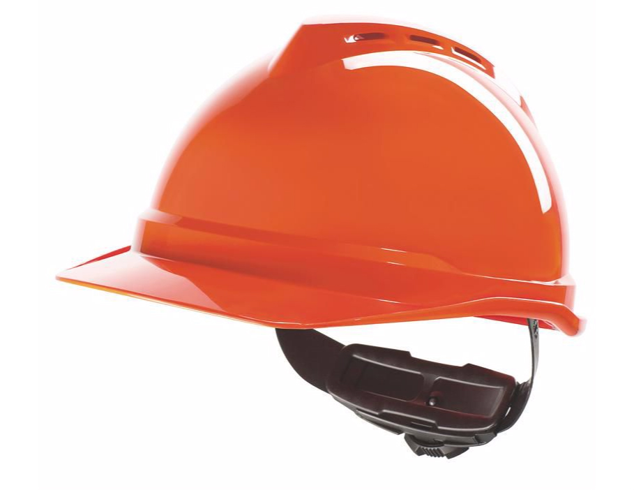 MSA V-Gard 500 Vented Helmet with 6pt Fas-Trac Ratchet Gv432, Red