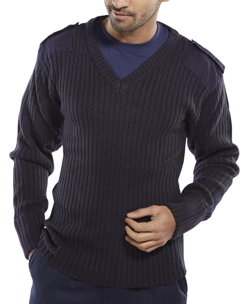 Beeswift AMODVN Men Nato V-Neck Jumper Navy