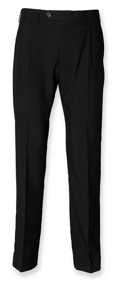 Henbury H603 Single Pleat Black 100% Polyester Trousers - Size 42