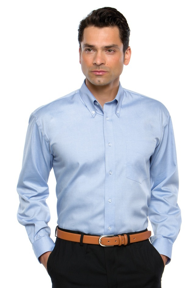 KK105 Mens Long Sleeve Premium Oxford Shirt Light Blue
