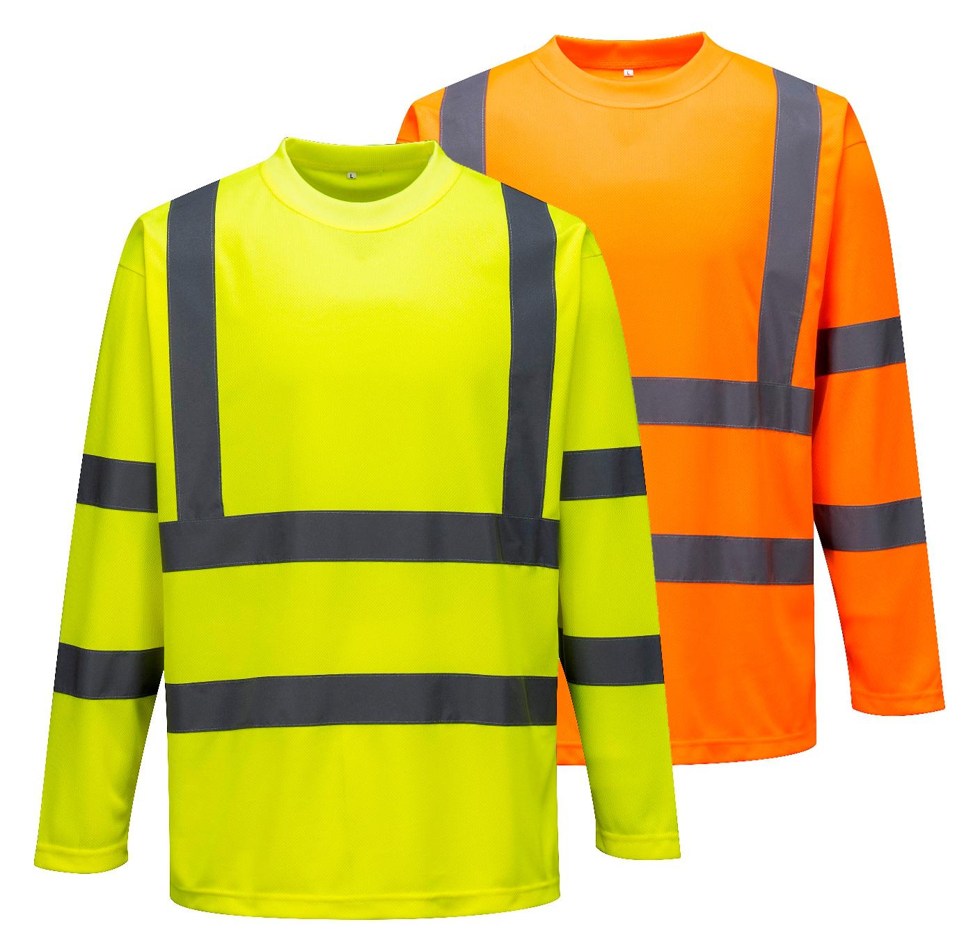 Portwest S178 Men Work T-Shirt Hi-Vis Long Sleeve b721e2efe