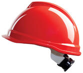 MSA V-Gard 520 Short Peak Red Safety Helmet with Fas-Trac & Rain Gutter GV932