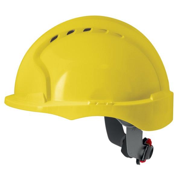JSP EVO 3 Short Peak Yellow Vented Helmet with Wheel Ratchet AJH170-000-200