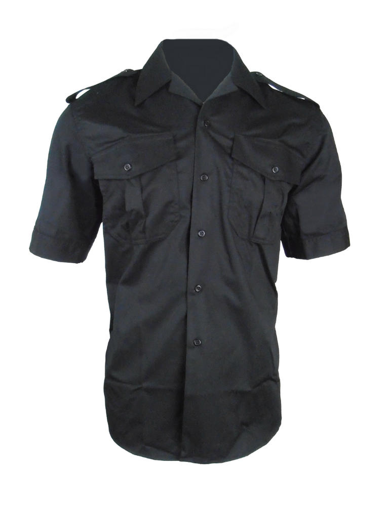 Arvello Polycotton Short Sleeves Open Neck Security Uniforms Black Shirt