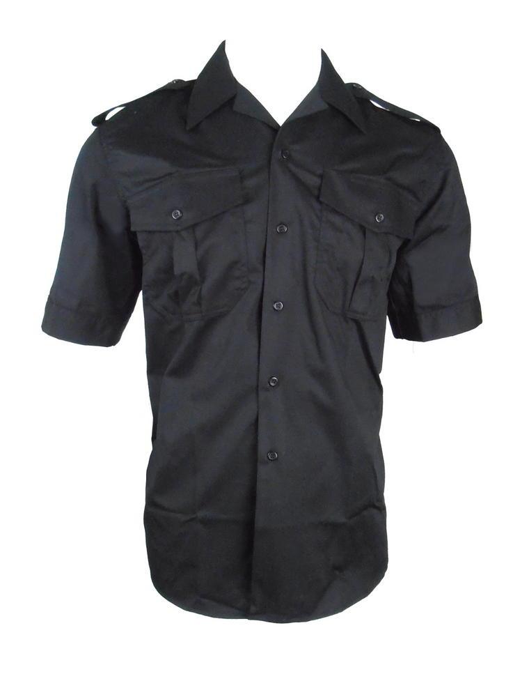 Arvello Men Black Shirt Short Sleeves Open Neck
