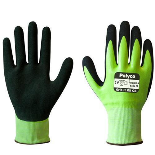 Polyco Grip It Oil C5 Men Work Gloves Cut 5 Resistant GIOK
