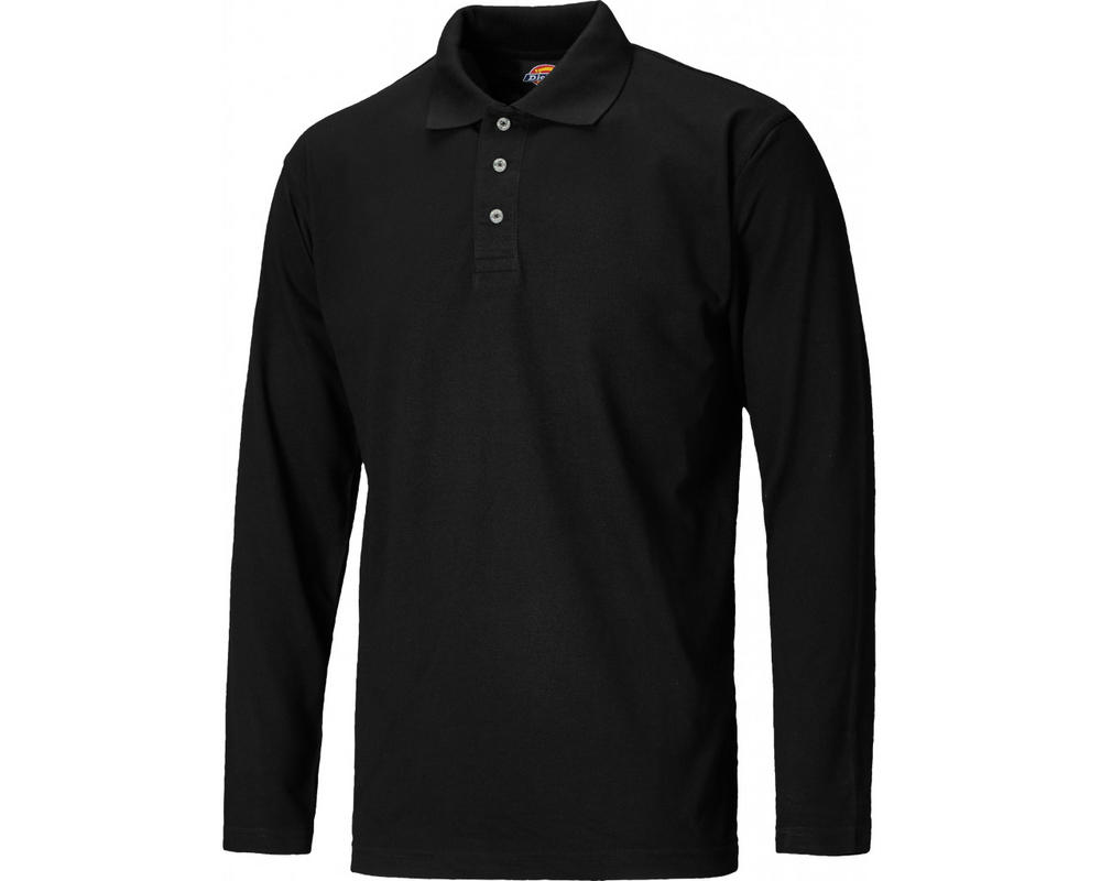 Dickies SH21100 Men Polo Shirt Polycotton Long Sleeve Black