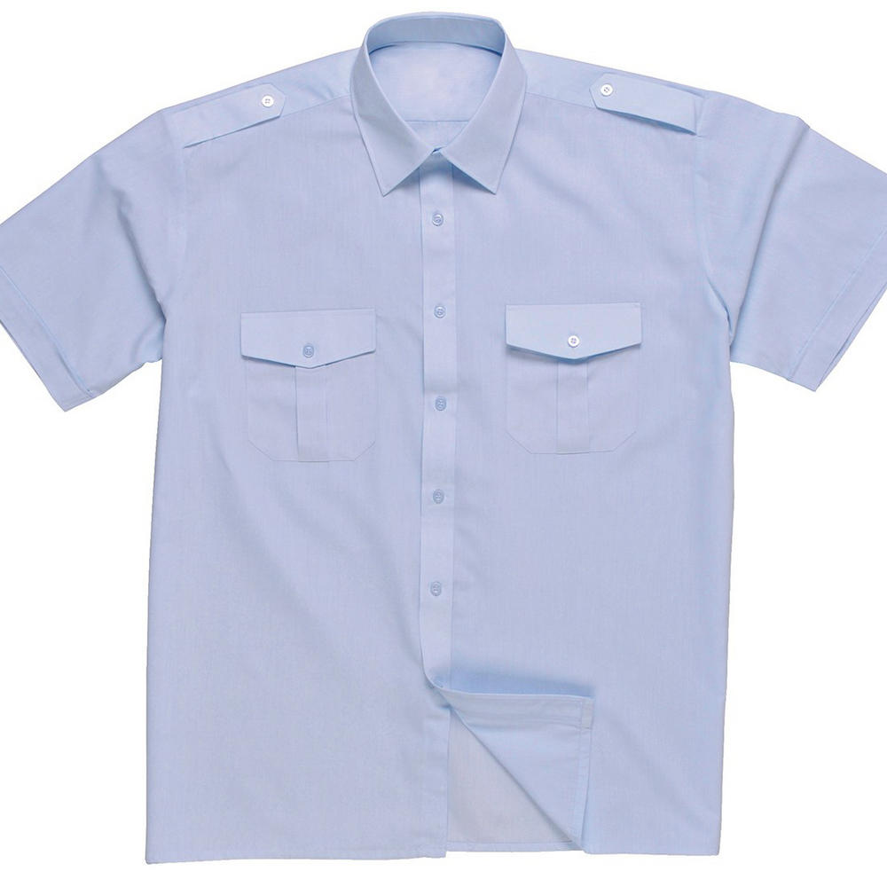 Rochelle Short Sleeve Polycotton Uniform Security Blue Men Pilot Shirt