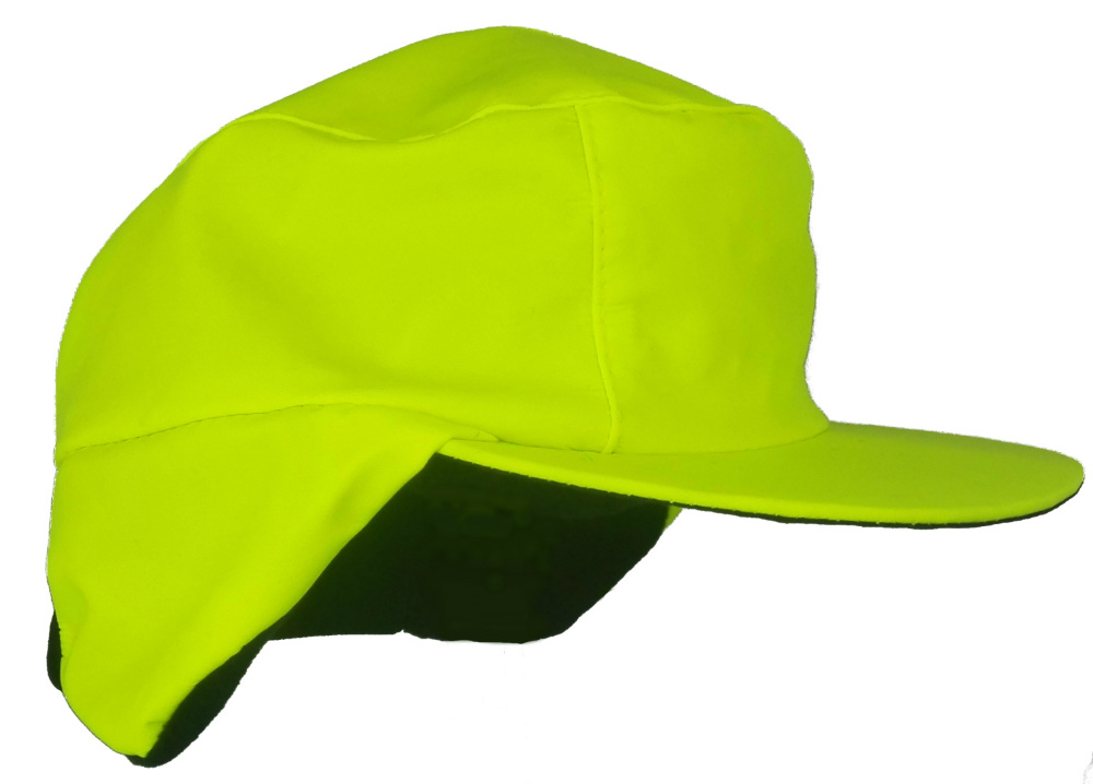 Warm Winter Waterproof Fleece Lined Cap Hi Vis Yellow with Ear Flaps 3ba271cc2c8