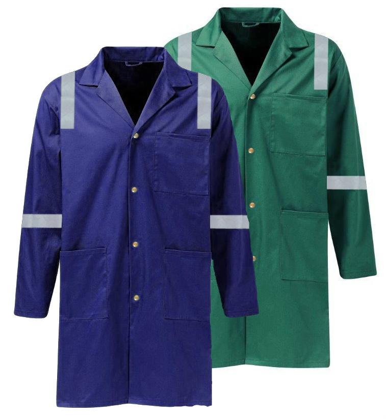 1cc0f06c1fd3 Wenaas 1033 Warehouse Flame Retardant Lab Coat Cotton Pyrovatex Hi Vis  Tapes Warehouse FR Work Coat