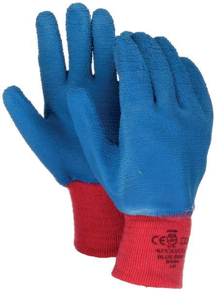 Polyco 8403 Blue Grip Men Work Gloves Cotton Full Crinkle Latex Coating