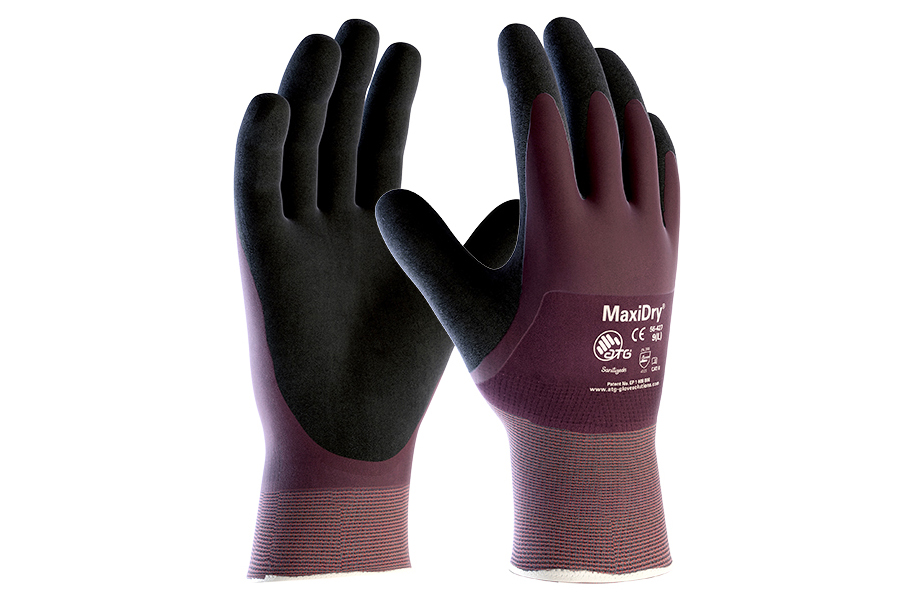 ATG MaxiDry 56-42 Nitrile Fully Coated Wet Grip Hand Protection Work Gloves
