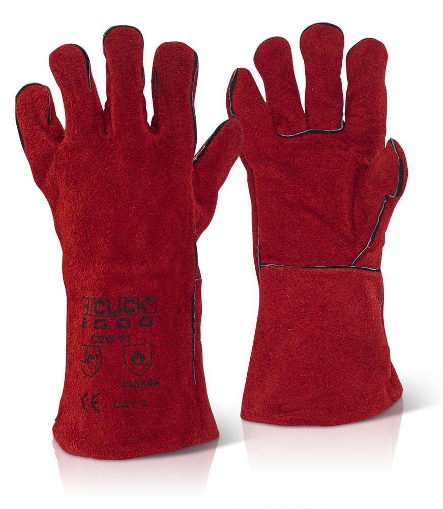 Click 2000 Welders C2W Gauntlet Glove Lined Red Leather Size 9 (Large)