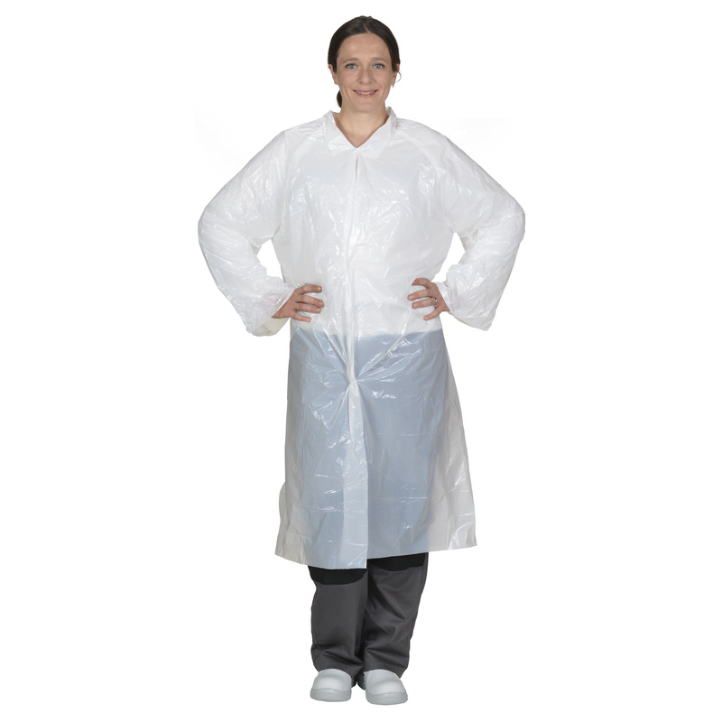 Jodal PE Visitor Disposable Coat Unisex With Poppers White Lab Food Hygiene