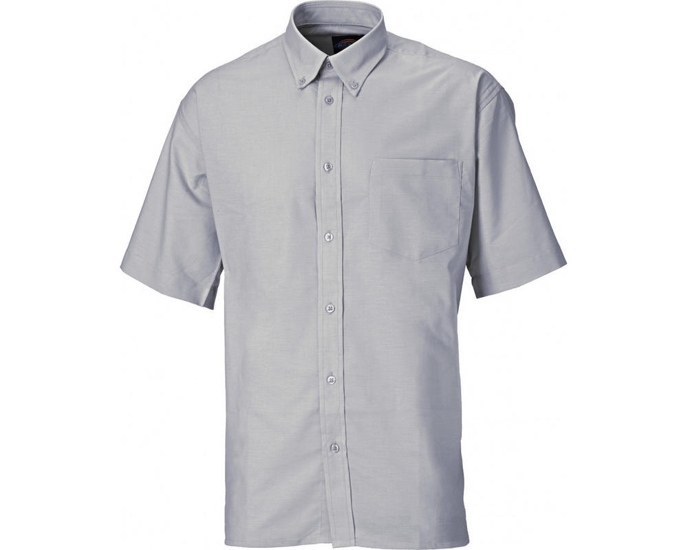 "Dickies SH64250 Men's Shirt Oxford Weave Short Sleeve Grey, Collar Size 15"""