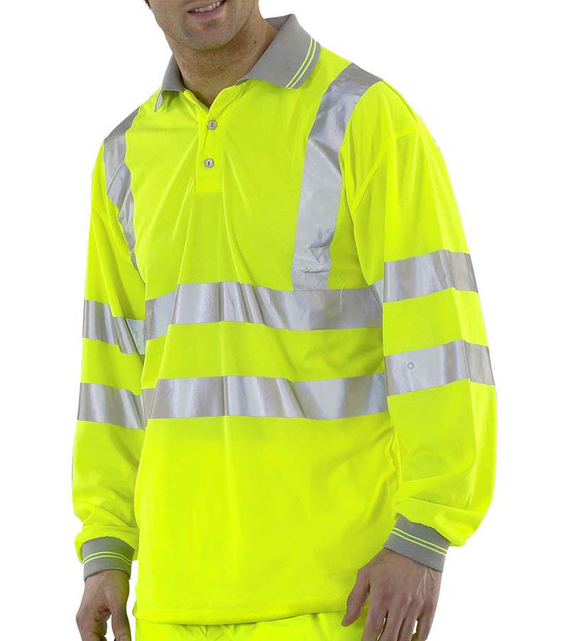 Beeswift Long Sleeve Polyester Reflective Band Safety Work Hi Vis Polo Shirt
