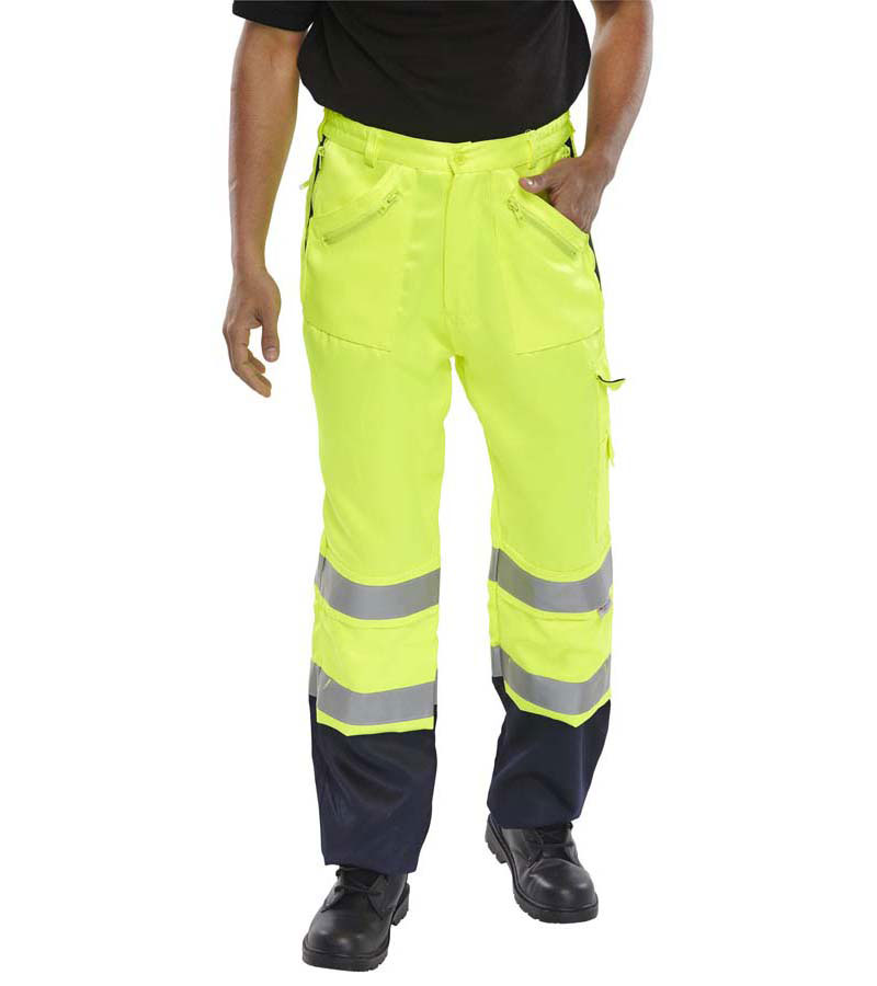 Beeswift Saturn High Visibility Two Tone Poly Cotton Trousers PCTTTENSYN