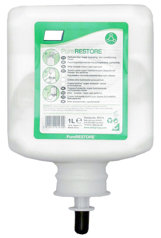 Deb Pure Restore Conditioning Hand Cream, Cartridge 1 Litre