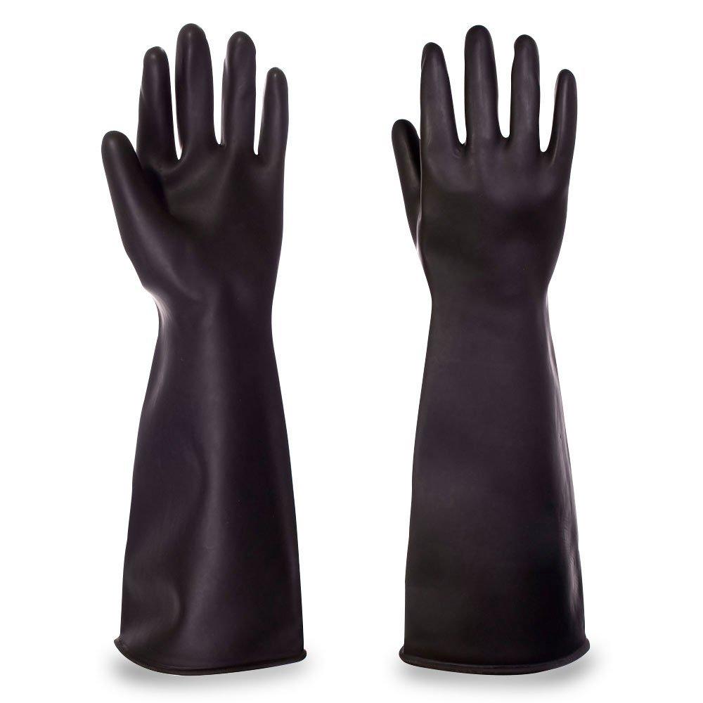 Marigold ME107 Emperor Mediumweight Black Latex Rubber Gauntlets Gloves 610mm