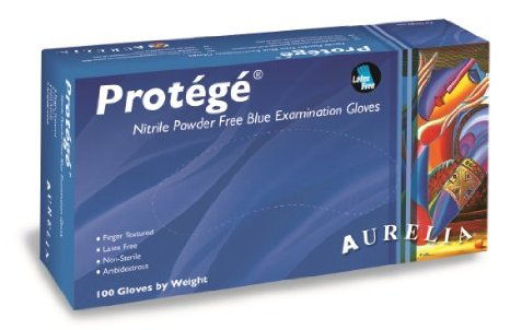 Aurelia Protégé Nitrile Powder-Free Single Use Blue Disposable Gloves, Box of 100