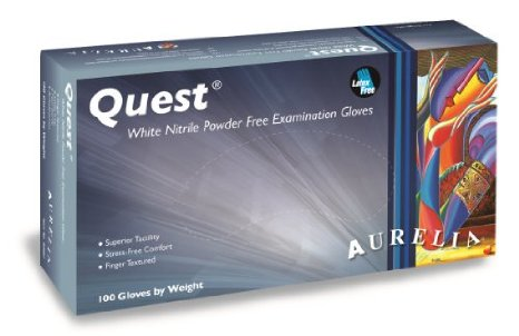 Aurelia Quest Nitrile Coated Powderfree White Disposable Gloves