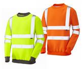 Leo Workwear Winkleigh Hi-Vis Class-3 Crew Neck Sweatshirt