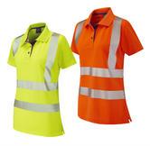 Leo Workwear Pippacott Segmented Reflective Tape Coolviz Plus Hi-Vis Ladies Polo Shirt