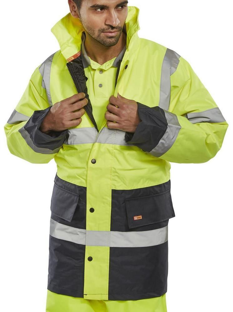 Beeswift TJSTTENGSYN Two Tone Traffic Jacket Waterproof Hi Vis Yellow / Navy