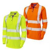 Leo Workwear POLLYFIELD Segmented Tape Coolviz Plus Ladies Sleeved Polo Shirt