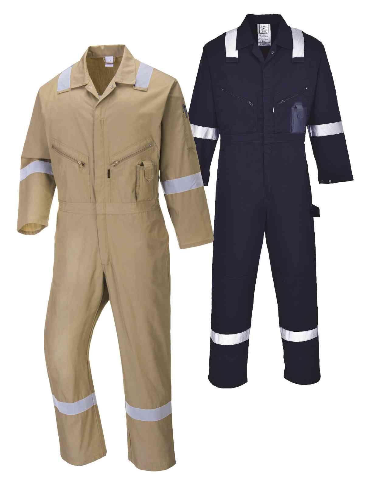 Portwest Men Iona Cotton Coverall Khaki//Navy Various Size C814