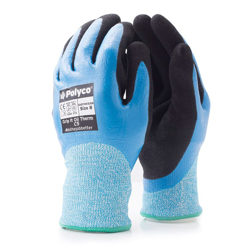 Polyco C5 GI0THK5 Grip It Oil Thermal Gloves, Cut Level 5 4.5.4.4 - Size 9