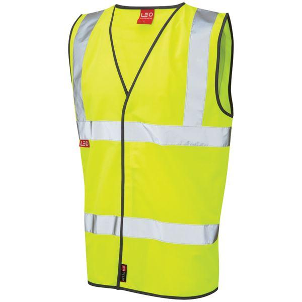 Leo Workwear Dolton W06-Y Hi Vis Flame Retardant Vest Waistcoat Yellow
