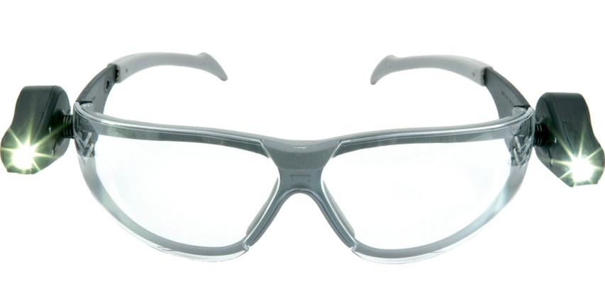 3M PELTOR LED Light Vision Safety Glasses, Clear, 11356-00000P